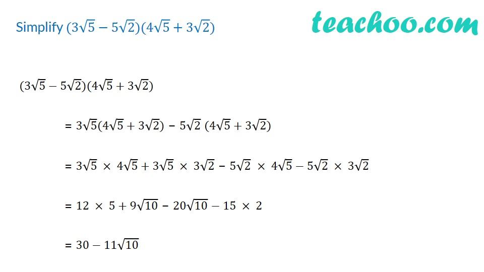 Simplify (3√5−5√2)(4√5+3√2)- with Video - Teachoo - Rationalising