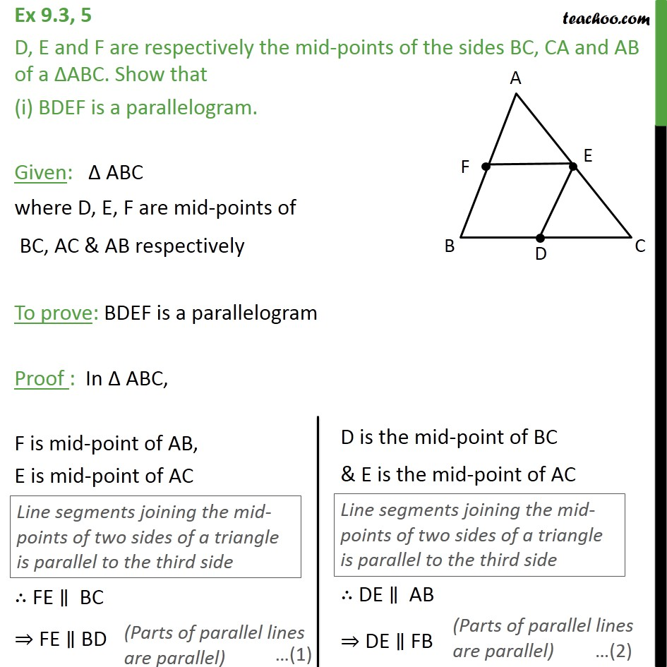 Ex 9.3, 5 - D, E and F are the mid-points of sides BC, CA - Paralleograms with same base & same parallel lines