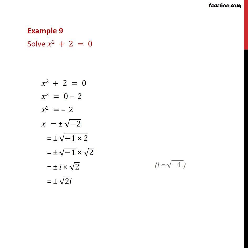 Example 9 - Solve x2 + 2 = 0 - Chapter 5 Class 11 - Quadaratic equation