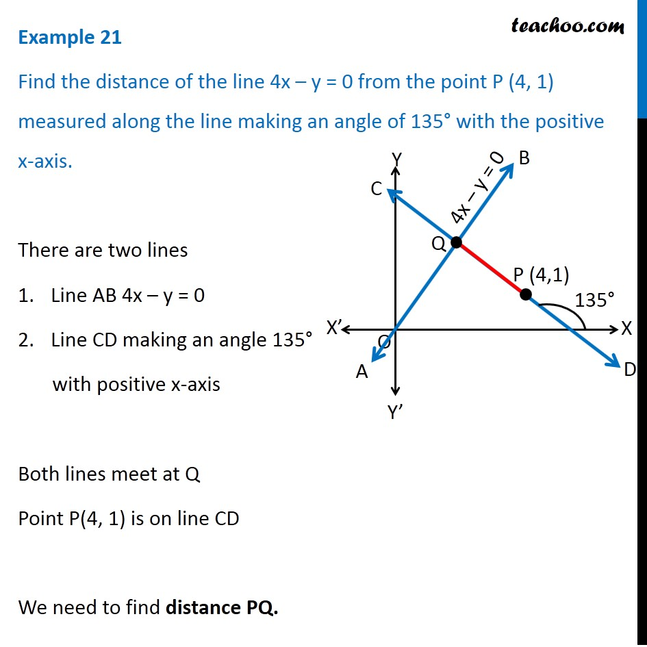 Example 21 - Find distance of 4x - y = 0 from P (4, 1) - Examples