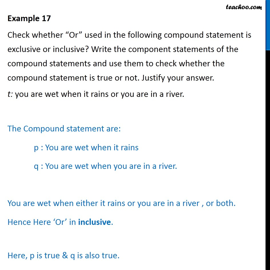 Example 17 - Check whether 'Or' used in the compound statement - Examples