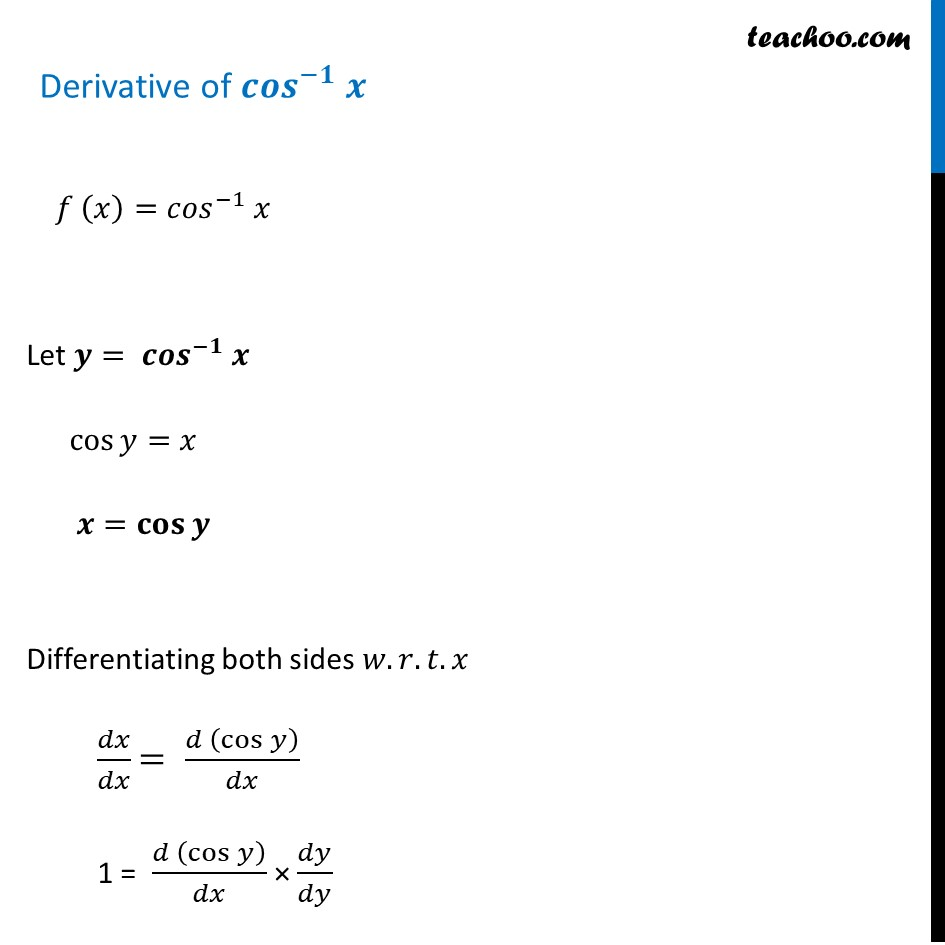 Differentiation of cos inverse x (cos^-1 x) - Teachoo [with Video]
