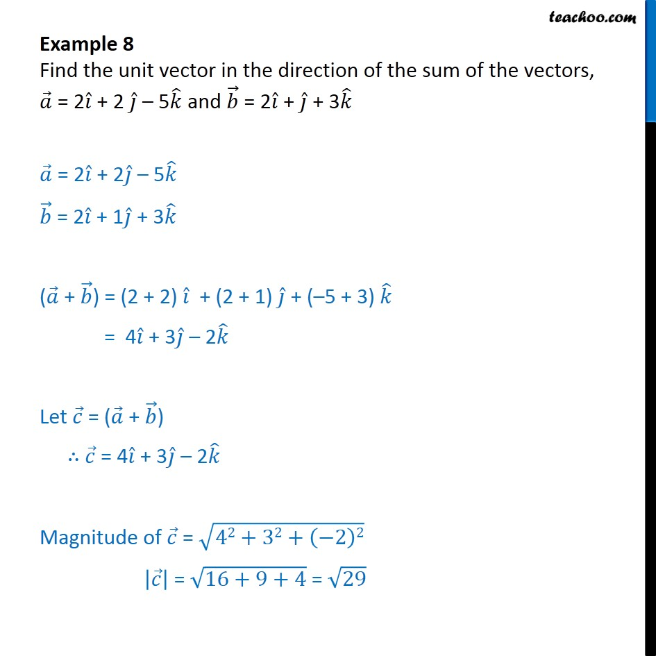 Example 8 - Find unit vector in direction of sum of vectors - Addition(resultant) of vectors