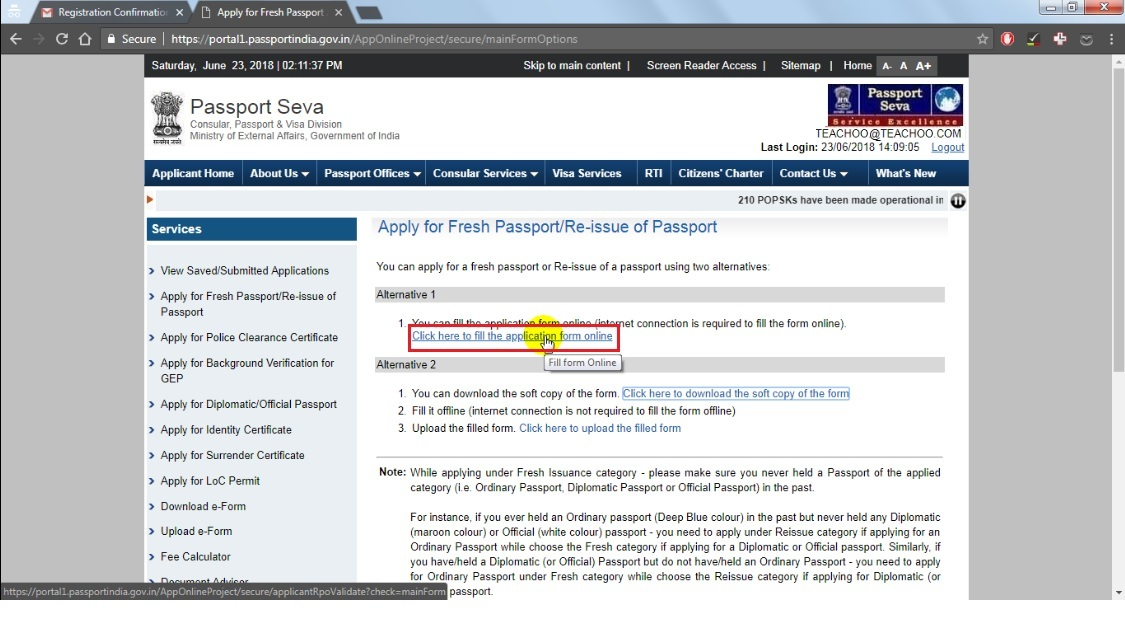 14  If you choose (Apply for fresh passport, then click the highlighted link.jpg