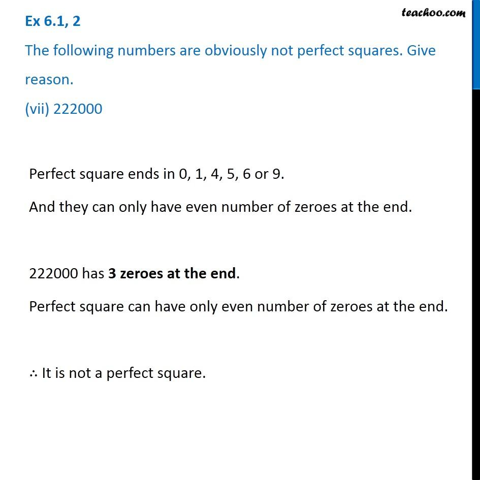 Ex 6.1, 2 - Chapter 6 Class 8 Squares and Square Roots - Part 7