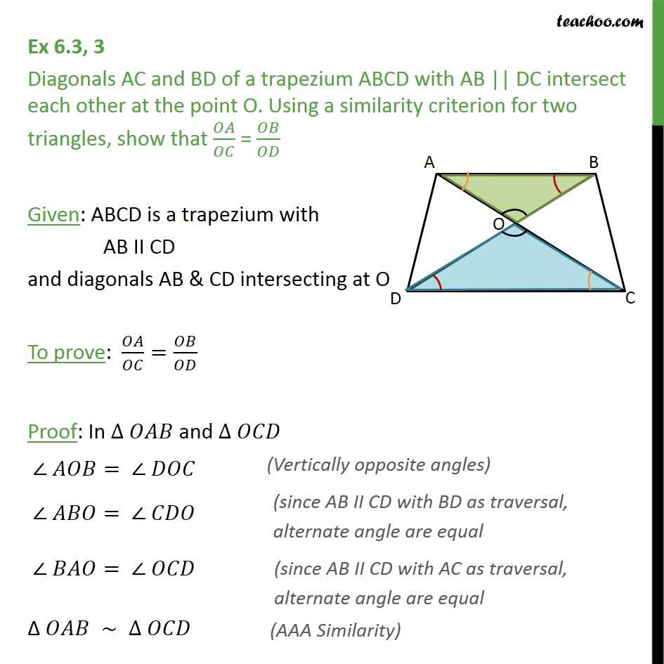 Ex 6.3, 3 - Diagonals AC and BD of a trapezium ABCD - Ex 6.3