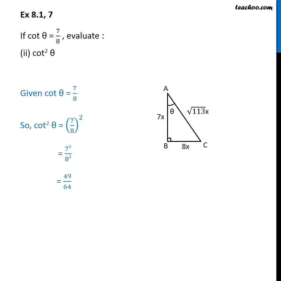 Ex 8.1, 7 - Chapter 8 Class 10 Introduction to Trignometry - Part 5
