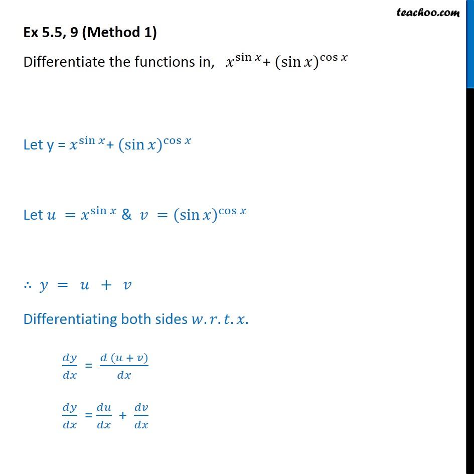 Ex 5.5, 9 - Differentiate x sin x + (sin x) cos x - Ex 5.5