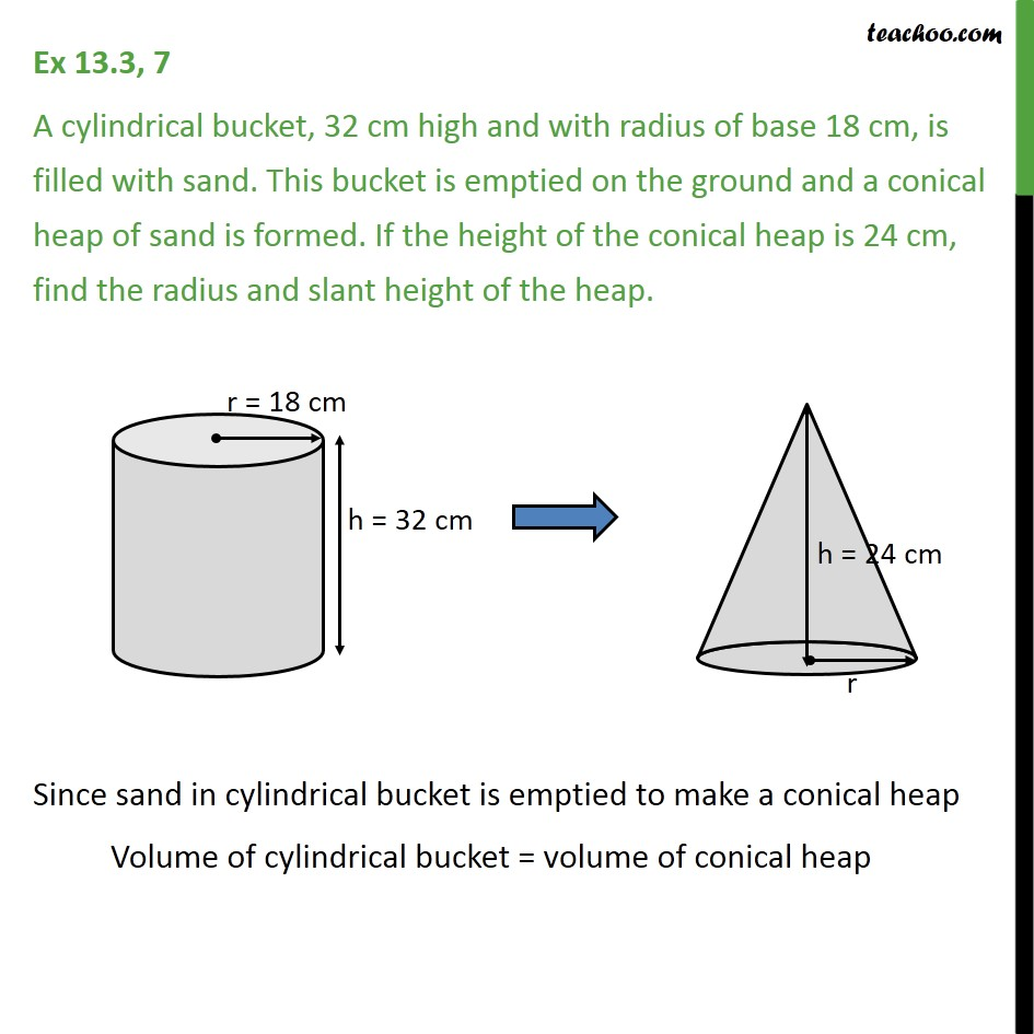 Ex 13.3, 7 - A cylindrical bucket, 32 cm high and radius - Conversion of one shape to another