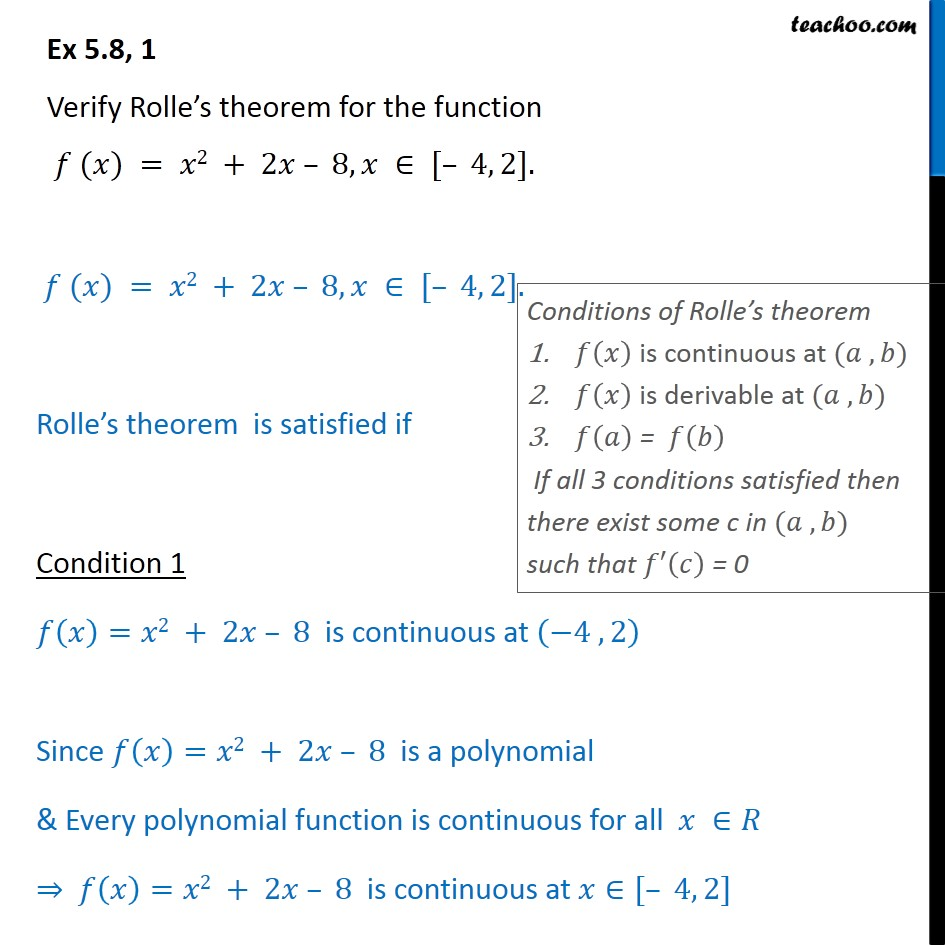 Ex 5.8, 1 - Verify Rolle's theorem for f(x) = x2 + 2x - 8 - Verify Rolles theorem