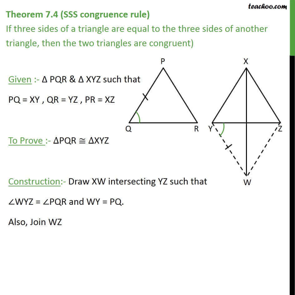 Theorem 7 4 Sss Congruence Rule Class 9 If 3 Sides Are Equal