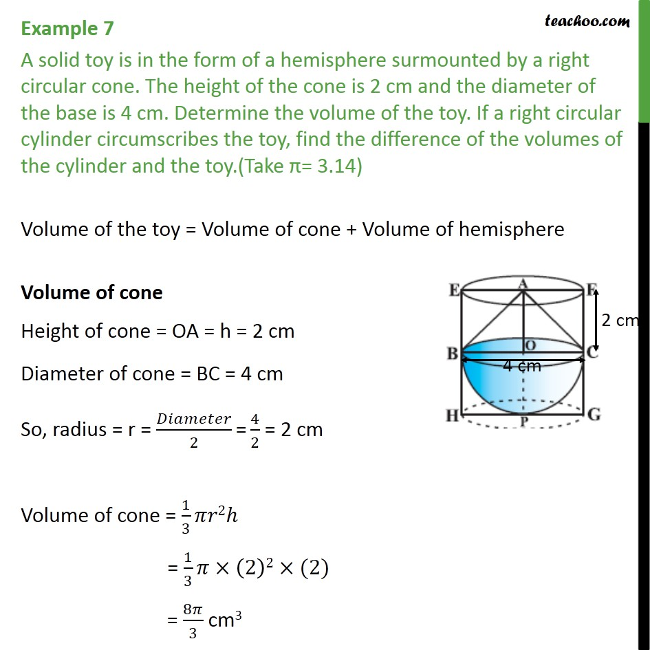 Example 7 - A solid toy is in form of a hemisphere surmounted - Volume - Added