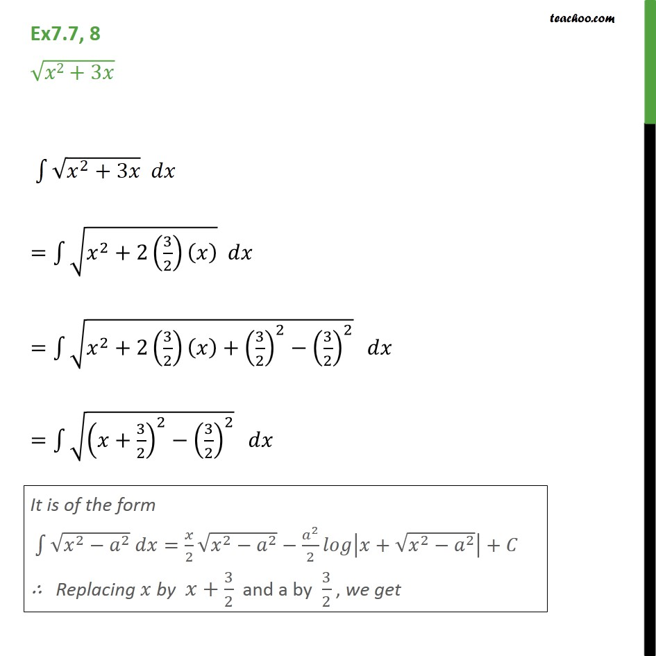 Ex 7.7, 8 - Integrate root x2 + 3x - Chapter 7 CBSE NCERT - Ex 7.7