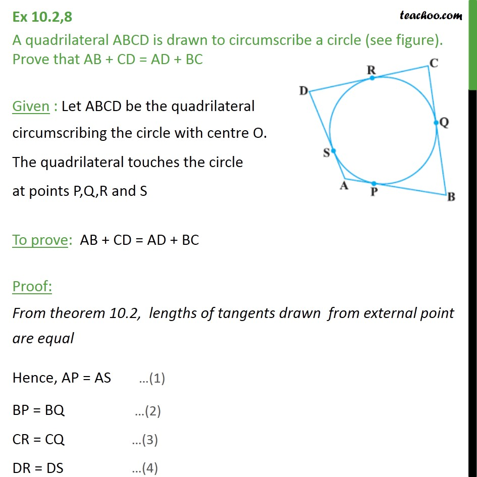 Ex 102 8 a quadrilateral abcd is drawn to circumscribe ex 102 8 a quadrilateral abcd is drawn to circumscribe ex 102 ccuart