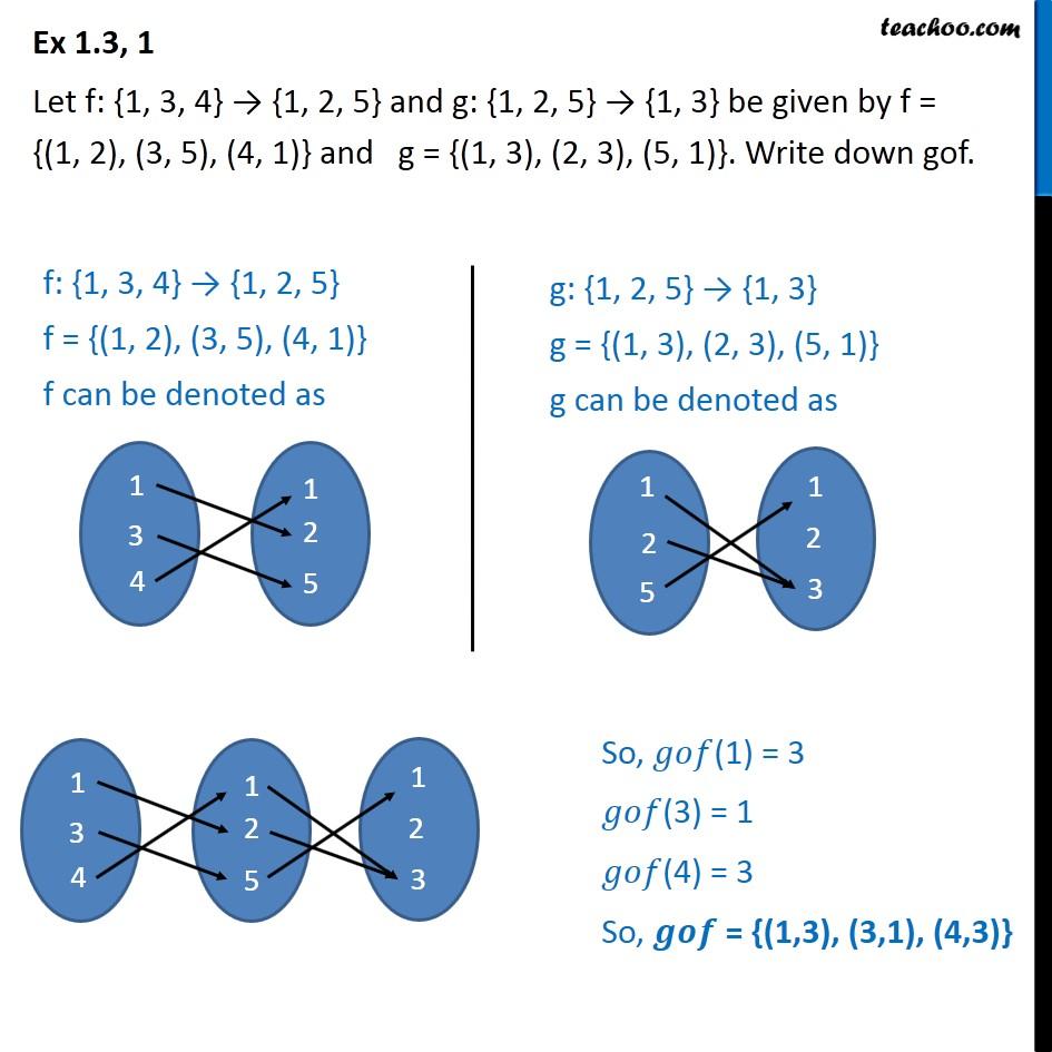 Ex 1.3, 1 - Letf: {1, 3, 4} -> {1, 2, 5},g: {1, 2, 5} - Ex 1.3
