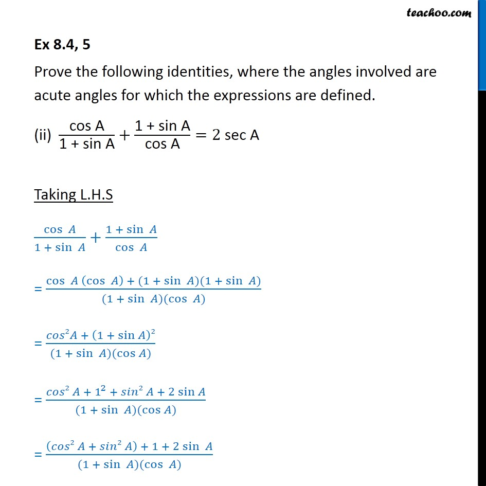 Ex 8.4, 5 - Chapter 8 Class 10 Introduction to Trignometry - Part 3