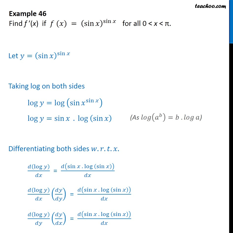 Example 46 - Find f'(x) if f(x) = (sin x)sin x - NCERT - Examples