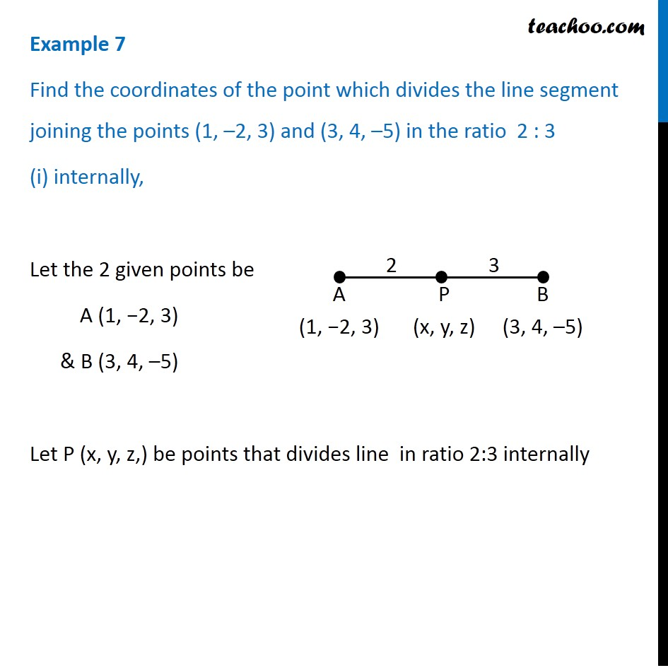Example 7 - Find coordinates of point which divides line