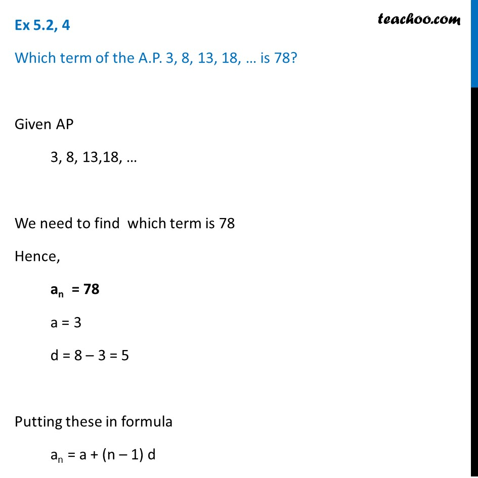 Ex 5.2, 4 - Which term of AP 3, 8, 13, 18, ... is 78? - Ex 5.2