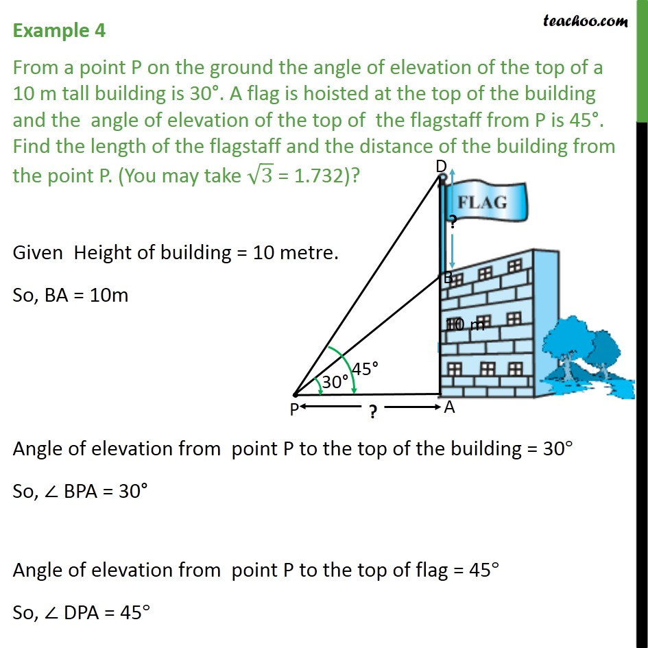 Example 4 - From a point P on the ground angle of elevation - Examples