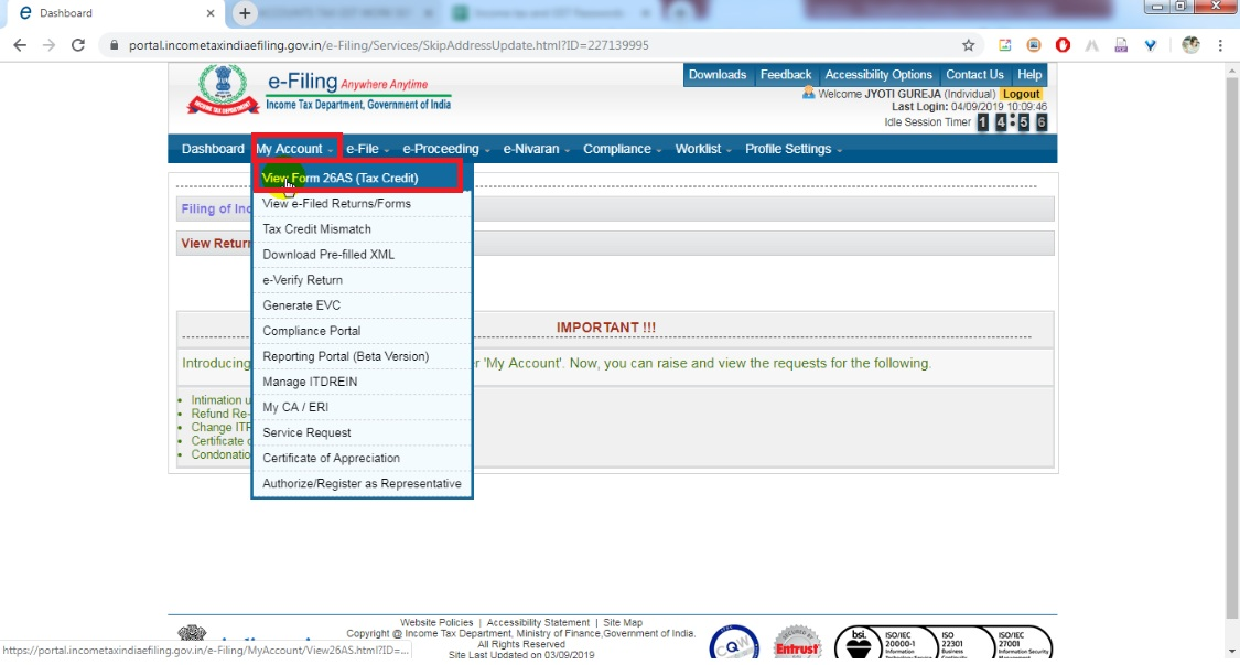 4. Go to my account, then click view form 26 AS (Tax credit).jpg