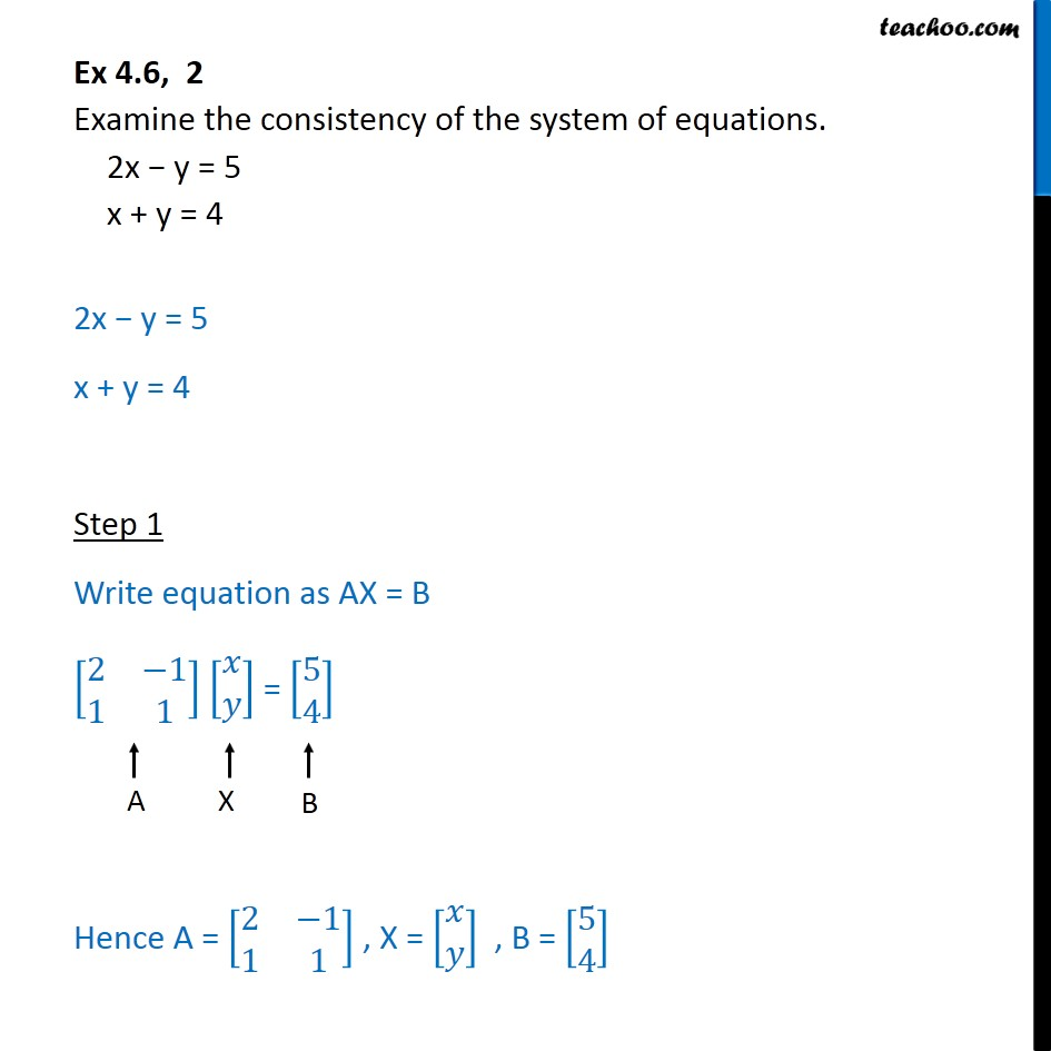 Ex 4.6, 2 - Examine consistency 2x - y = 5, x + y = 4 - Checking consistency of equations
