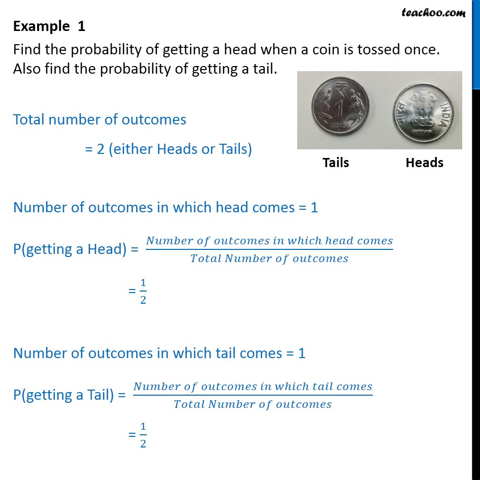 Example 1 - Find probability of getting a head when coin - Examples