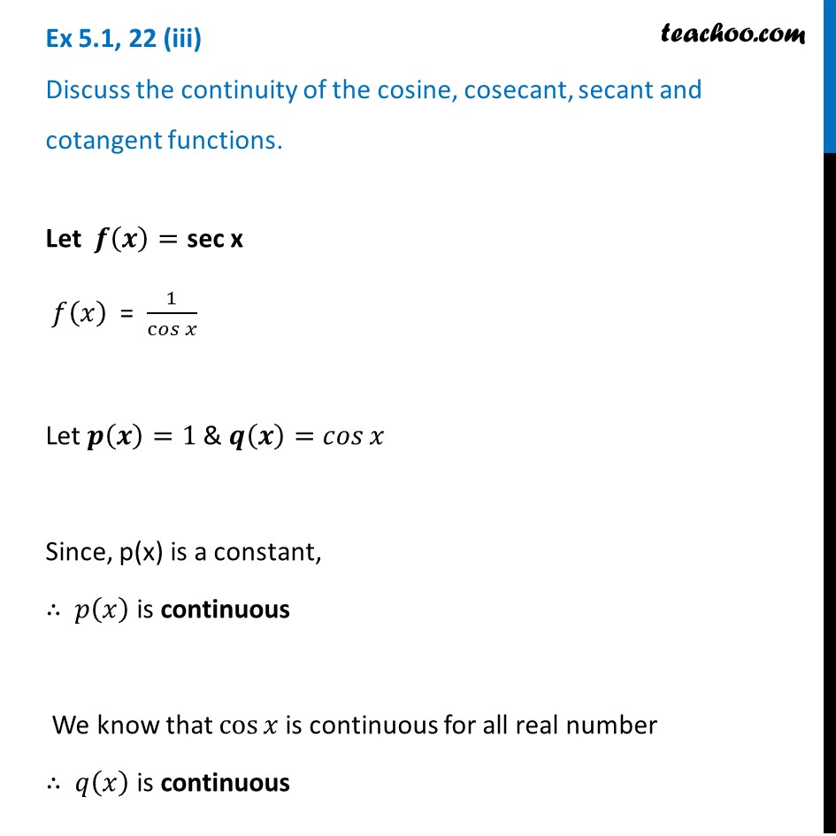 How to check continuity of secant function? [Video] - Teachoo