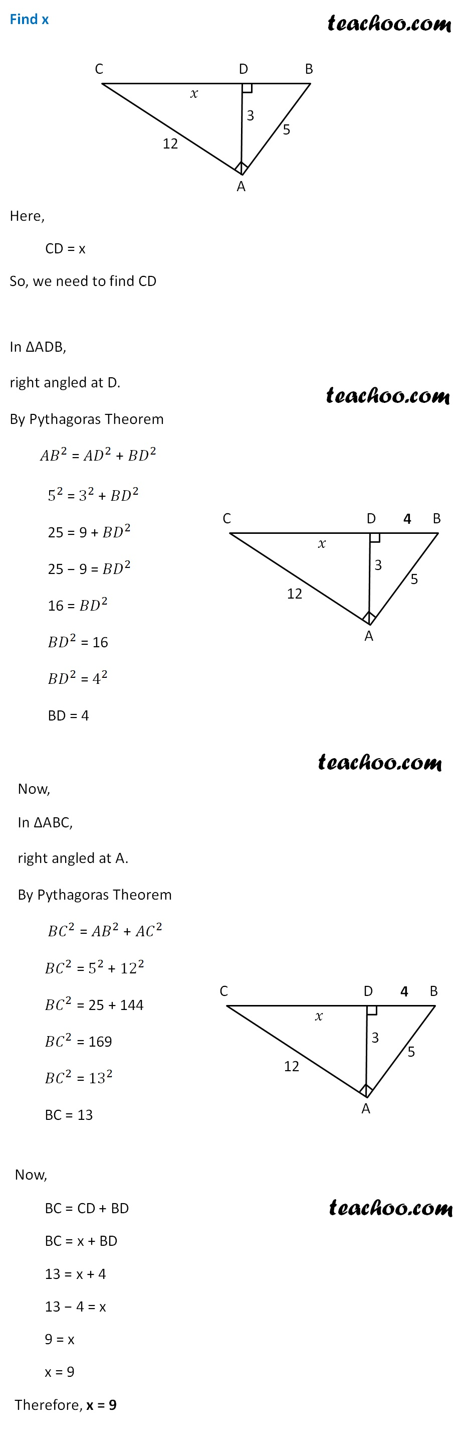 Pythagoras Theorem - Finding x - Example - Teachoo.jpg