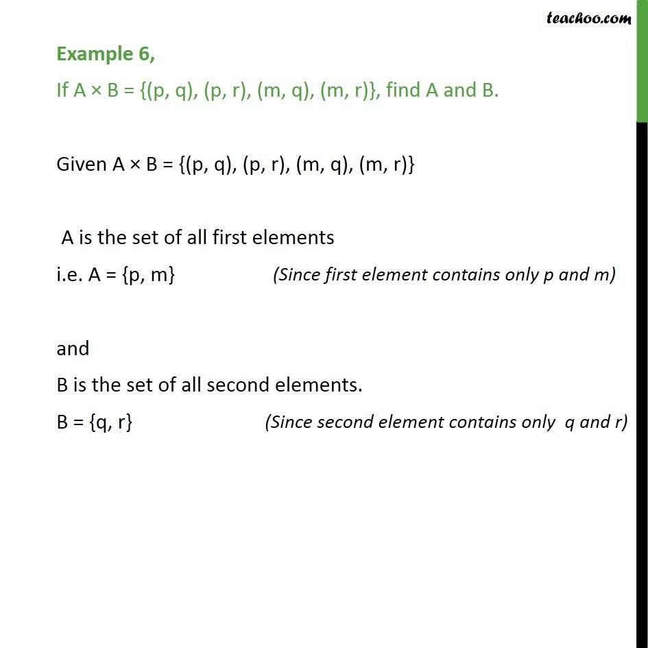 Example 6 - If A x B = {(p, q), (p, r), (m, q), (m, r)}, find A, B - Examples