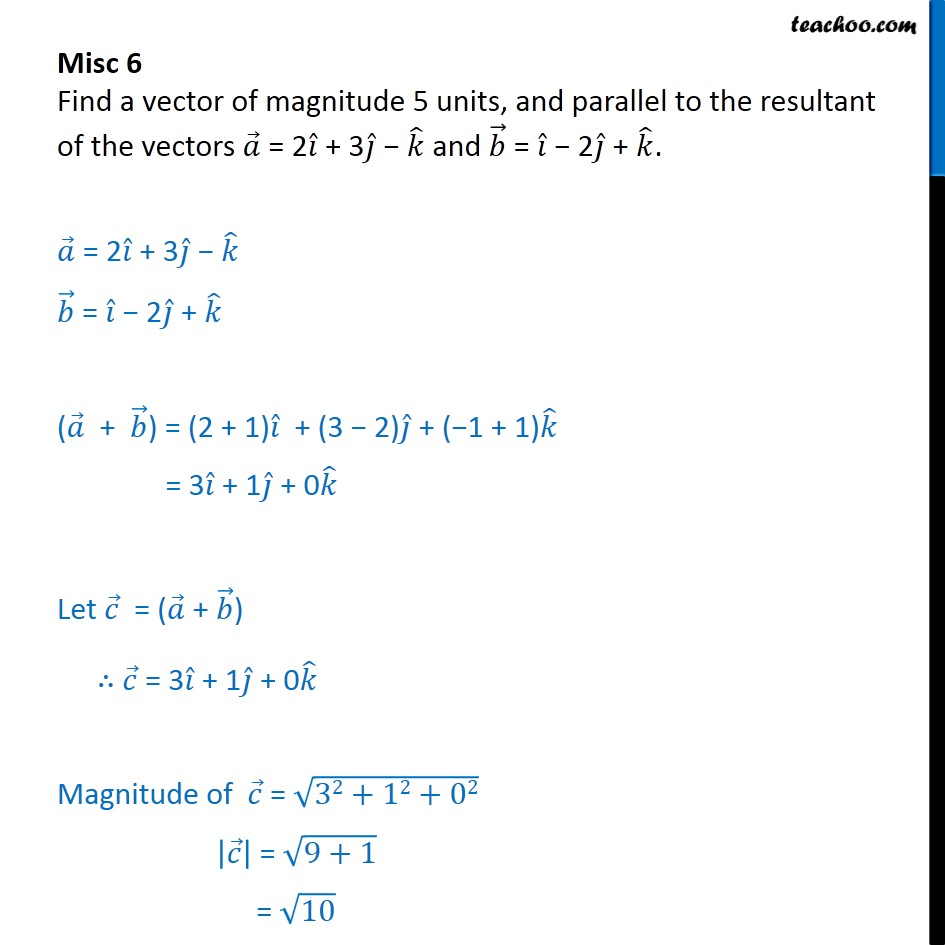 Misc 6 - Find a vector of magnitude 5 units, parallel to - Miscellaneous