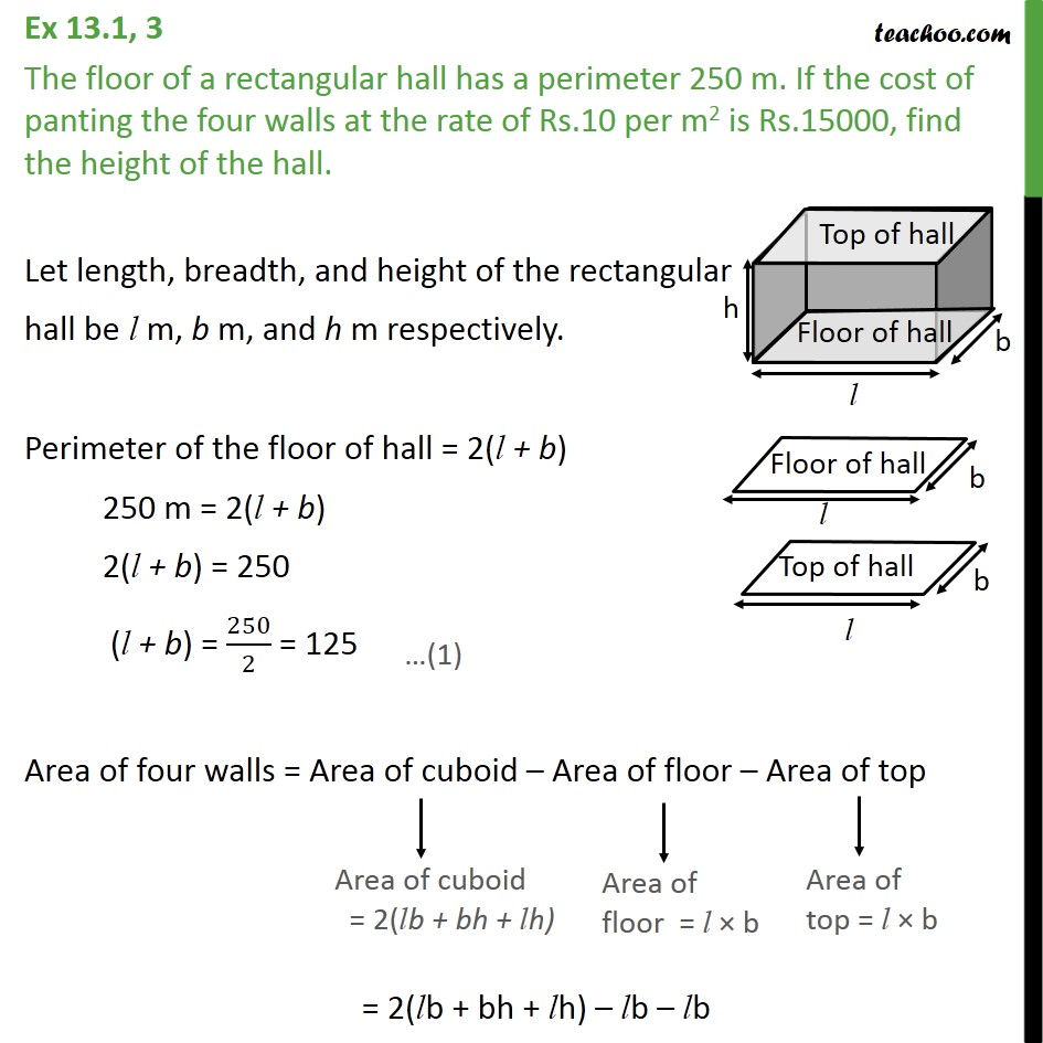 Ex 13.1, 3 - The floor of a rectangular hall has perimeter - Area Of Cube/ Cuboid