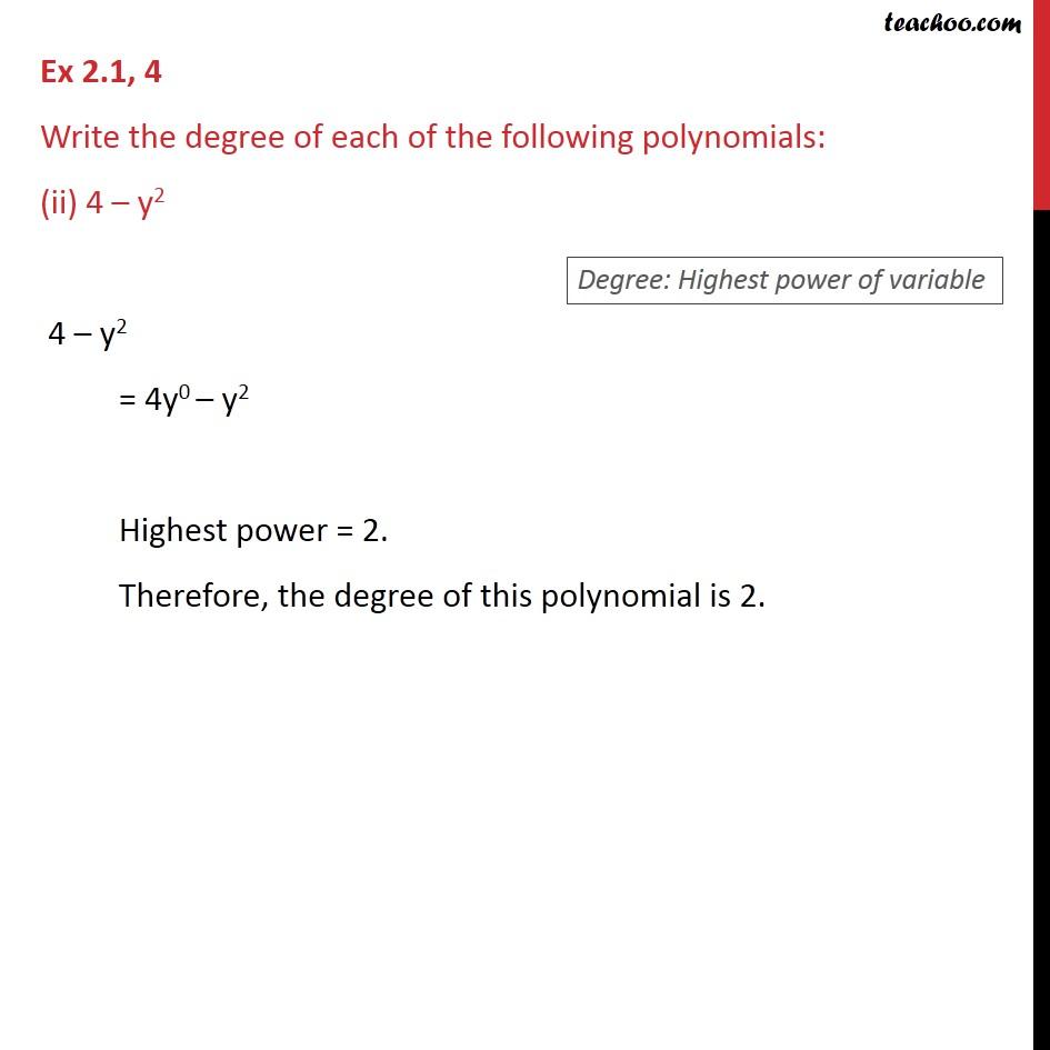 Ex 2.1, 4 - Chapter 2 Class 9 Polynomials - Part 2