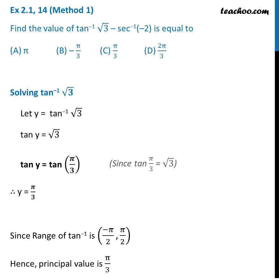 Ex 2.1, 14 - Find value of tan-1 root 3 - sec-1 (-2) - Ex 2.1