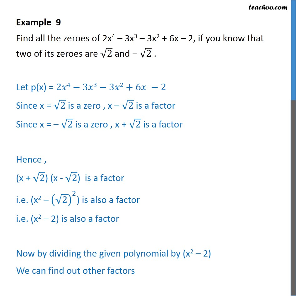 Example 9 - Chapter 2 Class 10 Polynomials - Part 2