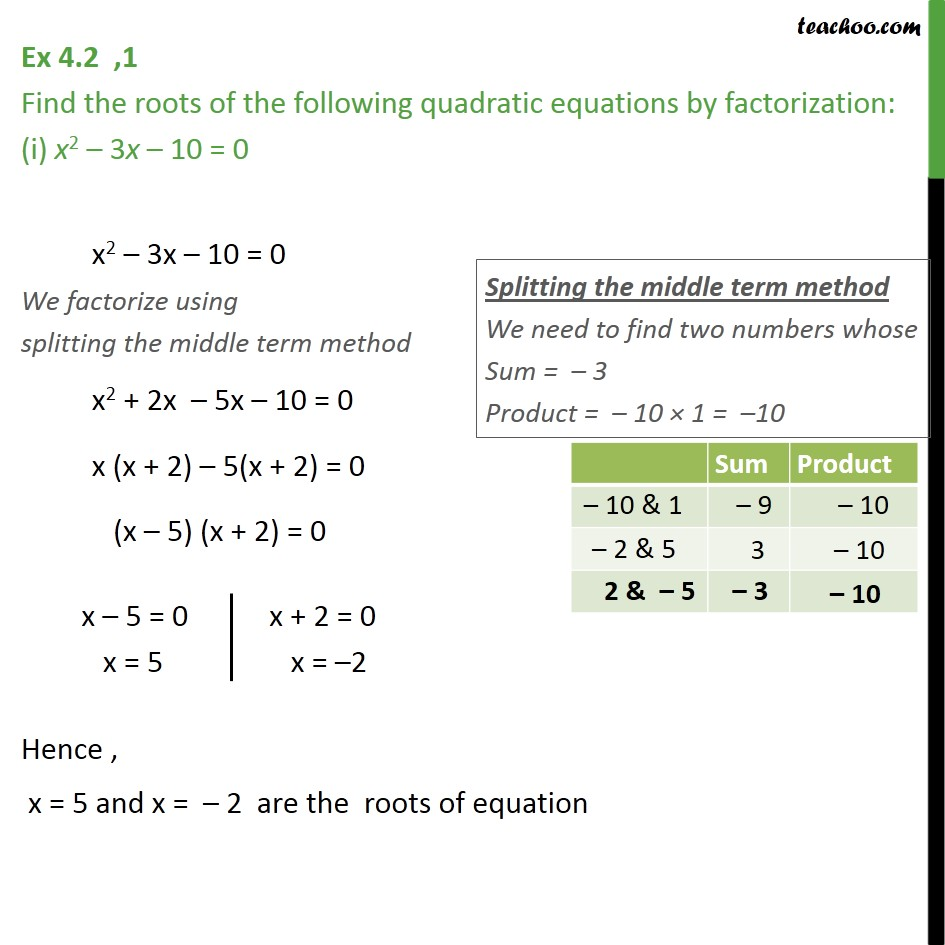 Ex 4.2, 1 - Find roots by factorization (i) x2 - 3x - 10 = 0 - Ex 4.2
