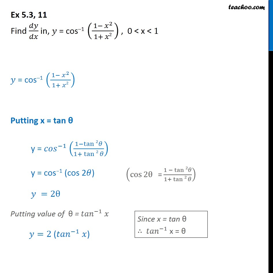 Ex 5.3, 11 - Find dy/dx in, y = cos-1 (1 - x2 / 1 + x2) - Finding derivative of Inverse trigonometric functions