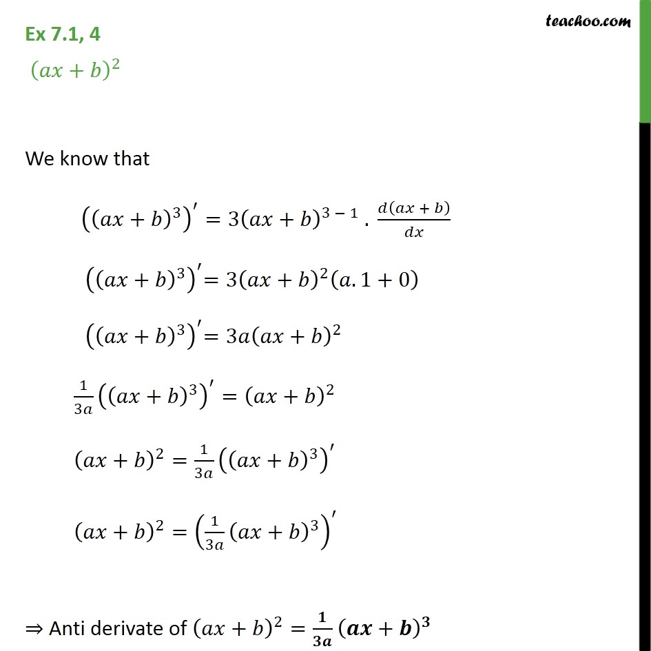 Ex 7.1, 4 - Find anti derivative of (ax + b)2 - Class 12 - Ex 7.1
