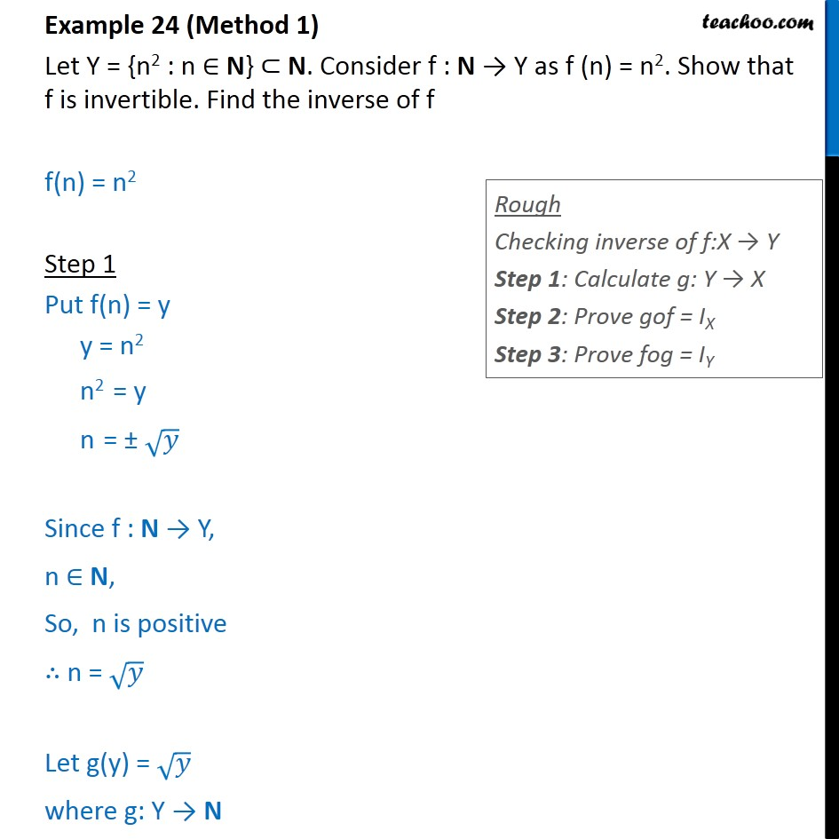 Example 24 - Let f(n) = n2. Show f is invertible. Find inverse - Finding Inverse