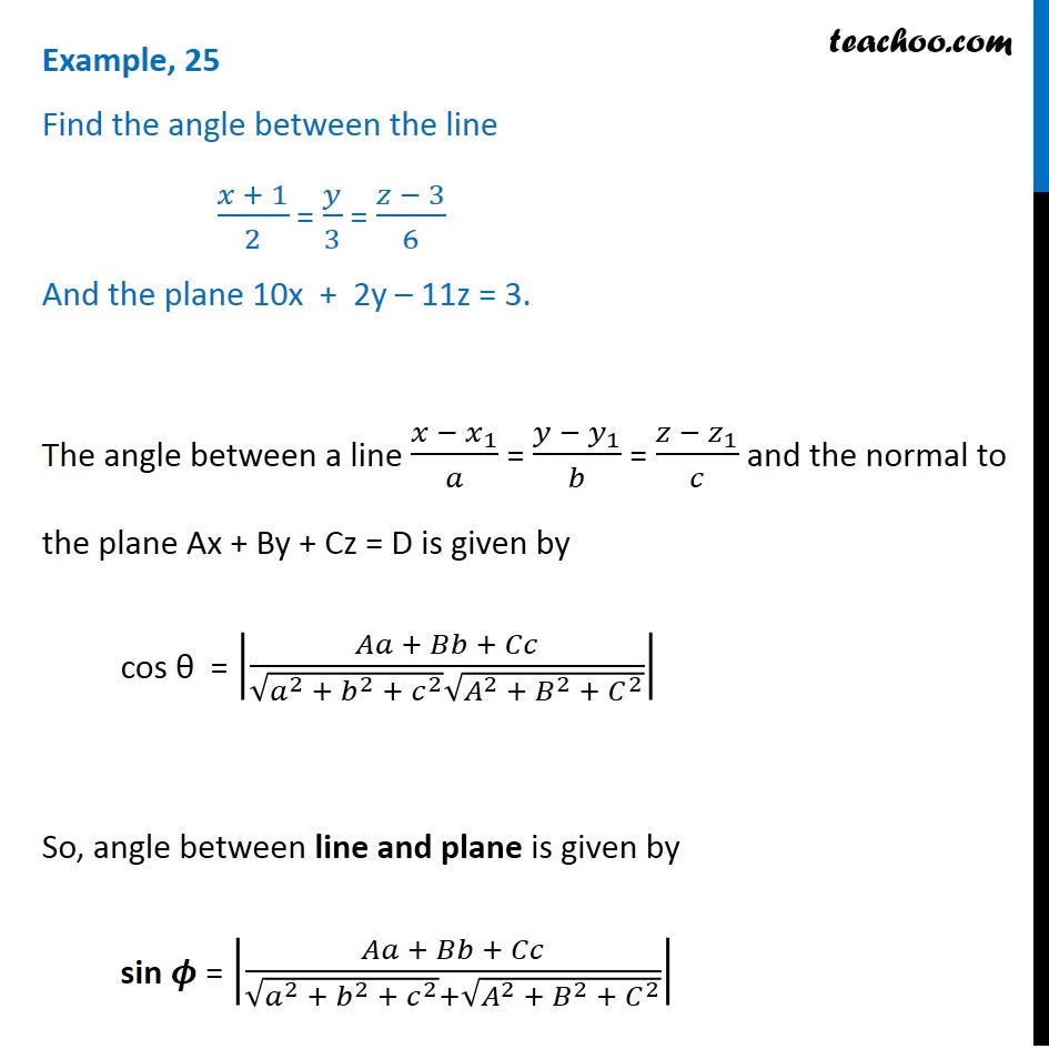Example 25 - Find angle between line and plane - Class 12