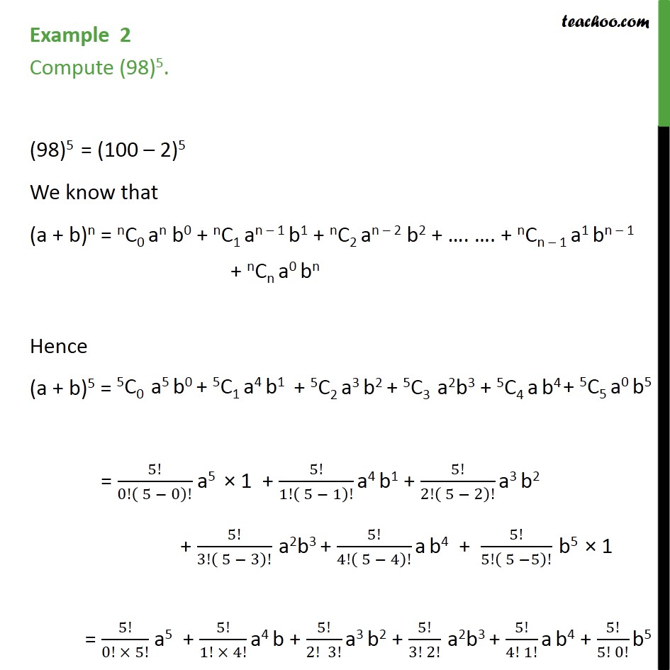 Example 2 - Compute (98)5 - Chapter 8 Binomial Theorem - Examples