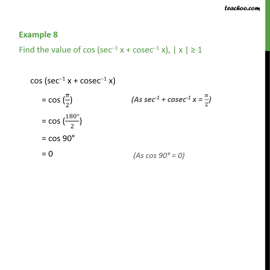 Example 8 - Find cos (sec-1 x + cosec-1 x) - Chapter 2 NCERT - Examples