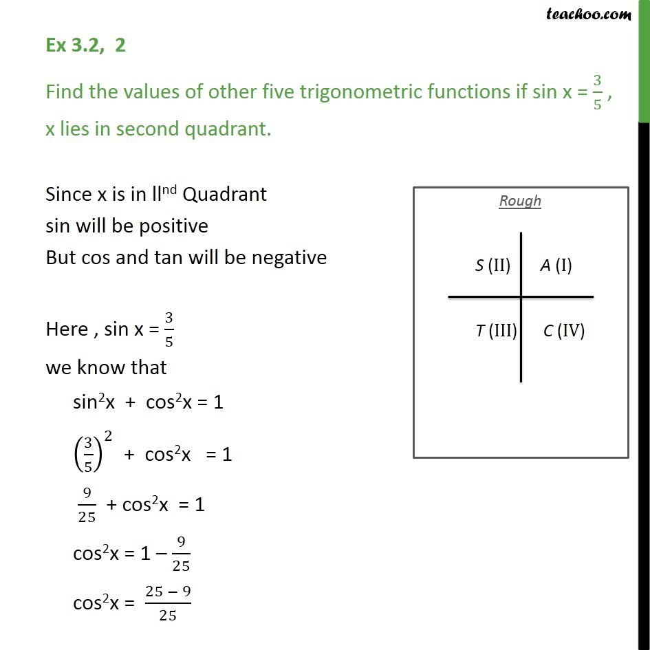 Ex 3.2, 2 - Find the values of other five trigonometric functions if sin x = 3/5 , x lies - Ex 3.2