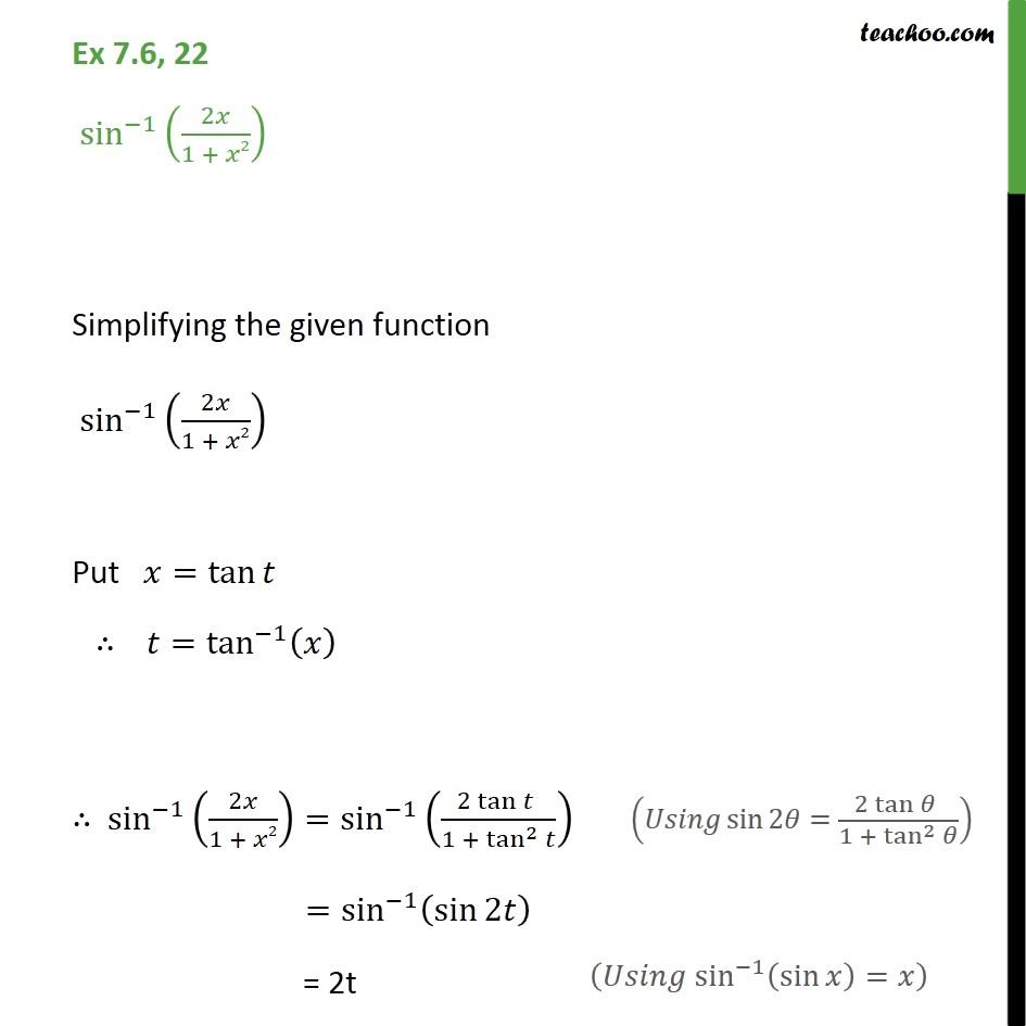 Ex 7.6, 22 - Integrate sin-1 (2x / 1 + x2) - Class 12 CBSE - Ex 7.6