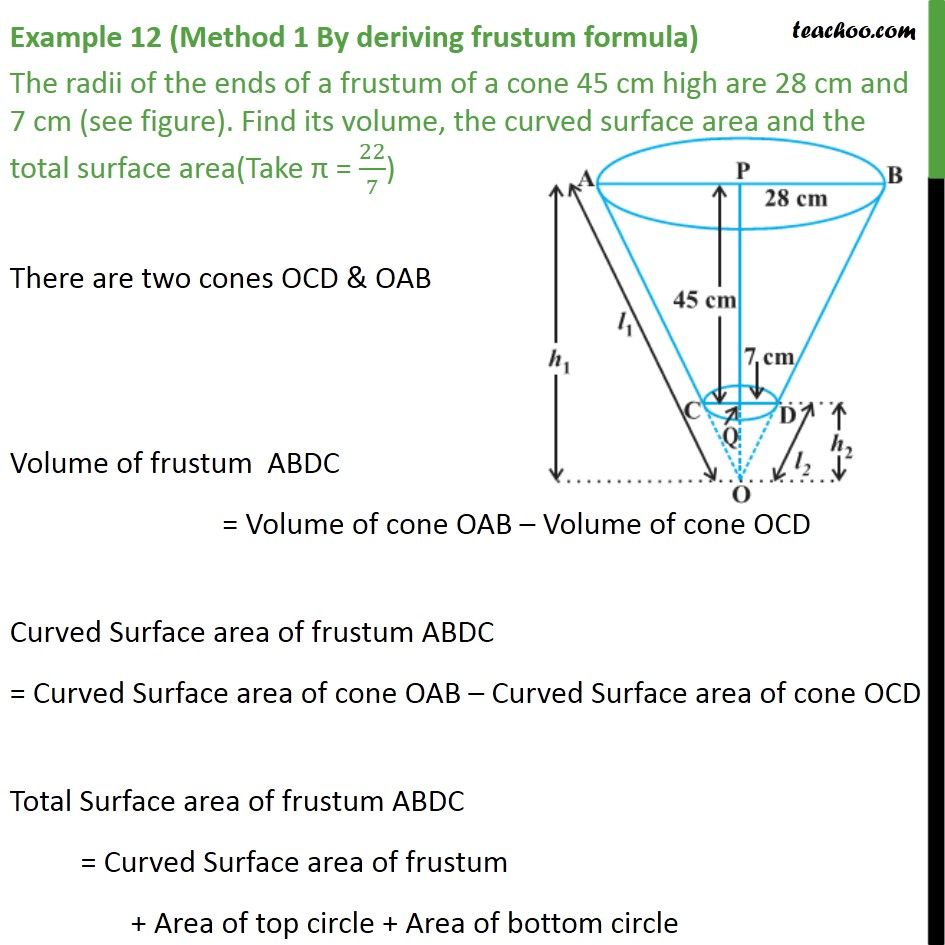 Example 12 - The radii of ends of a frustum 45 cm high - Examples