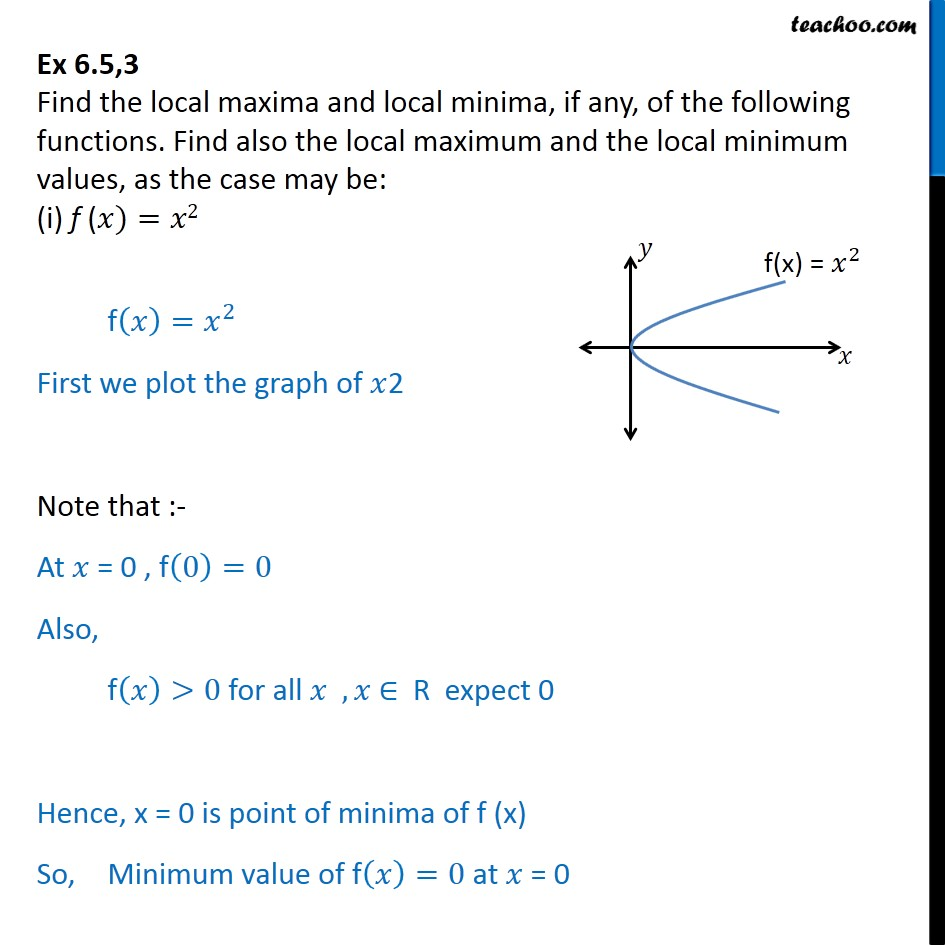 Ex 6.5, 3 - Find local maxima, local minima of (i) f(x) = x2 - Local maxima and minima