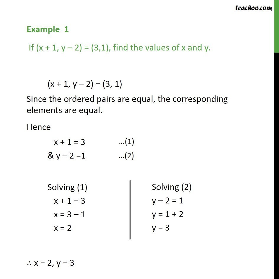 Example 1 - If (x + 1, y - 2) = (3,1), find x and y - Class 11 - Examples