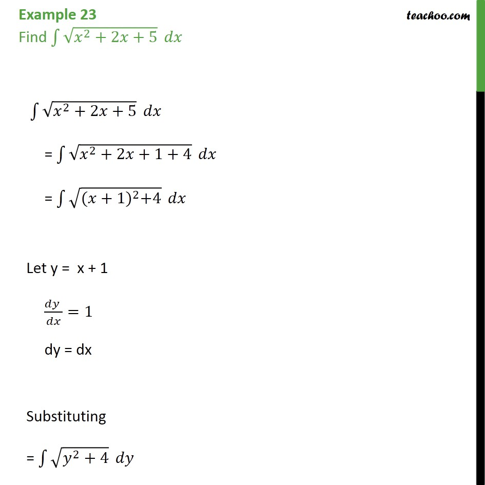 Example 23 - Find integral root x2 + 2x + 5 dx - Examples