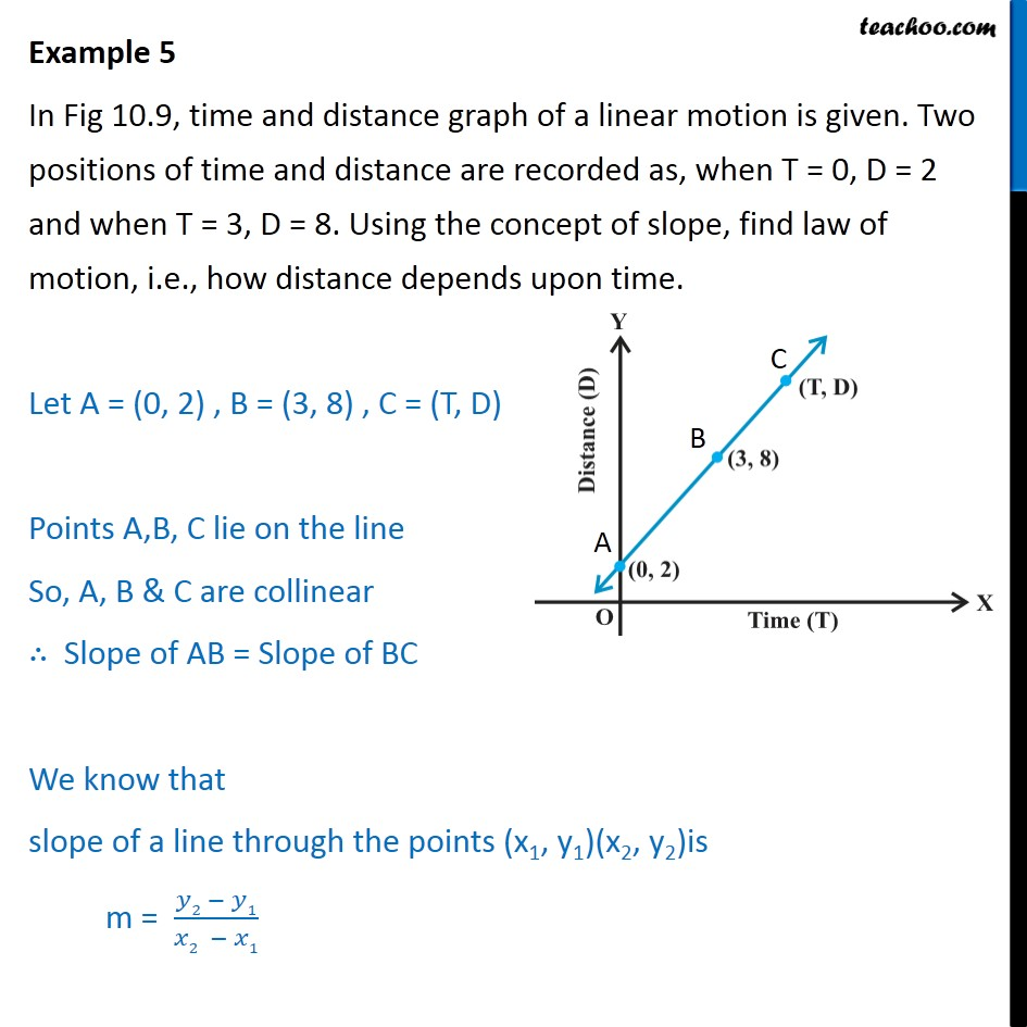 Example 5 - Time and distance graph of a linear motion - Examples