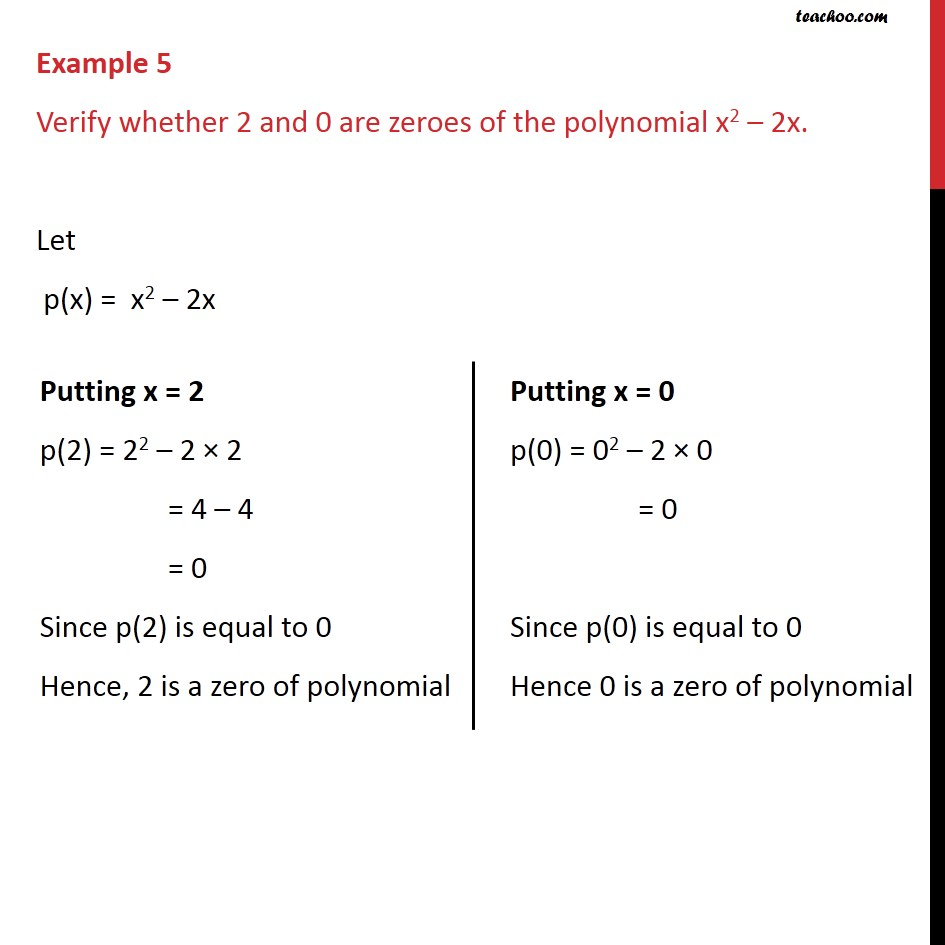 Example 5 Verify Whether 2 0 Are Zeroes Of Polynomial